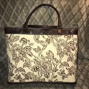 Estée Lauder tote, with brown flower design